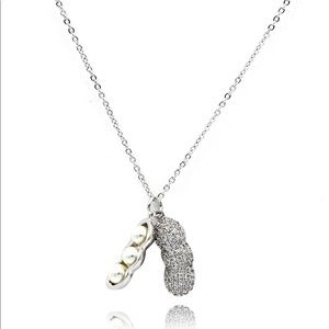 Sterling silver peanut crystal pendant necklace